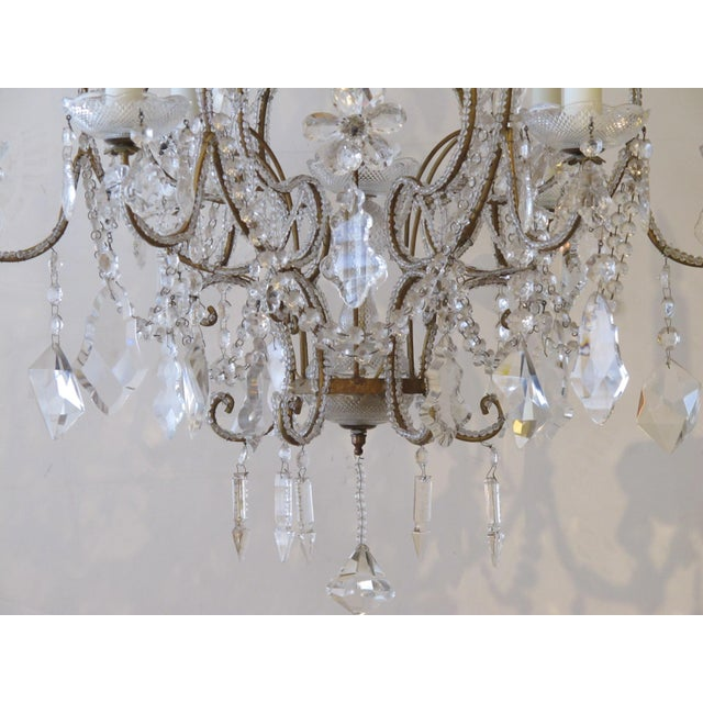 A lustrous and graceful Italian rococo style cage-form beaded 6-light chandelier with crystal pendants, flowers and swags For Sale In San Francisco - Image 6 of 6