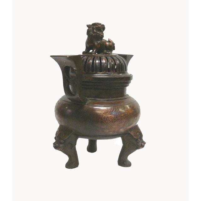 Chinese Bronze Foo Dogs Graphic Incense Burner - Image 2 of 7