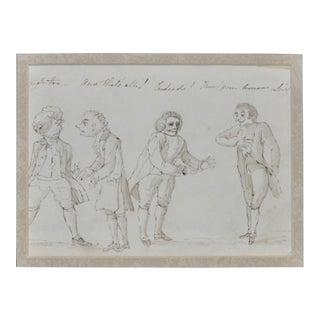 Original 19th Century European Satirical Cartoon Illustration For Sale