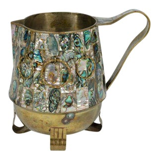 Salvador Teran Abalone Shell & Brass Water Pitcher For Sale