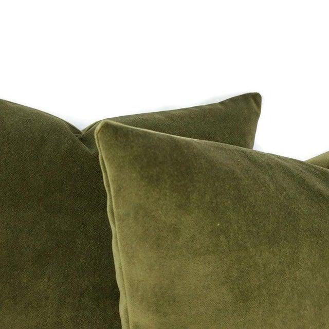 """Kravet Kravet Delta Velvet in Loden Green Pillow Cover - 20"""" X 20"""" Solid Moss Green Velvet Cushion Case For Sale - Image 4 of 7"""