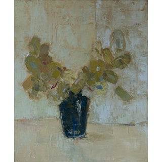 """Bill Tans """" Navy Vase """" Abstract Floral Oil on Canvas For Sale"""