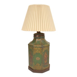 Antique Tole Green and Gilt Decorated Tea Canister Lamp For Sale