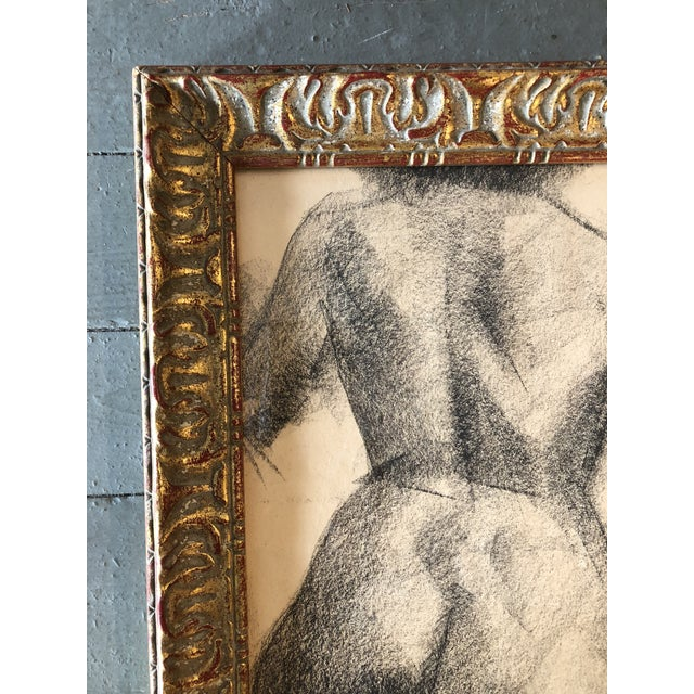 Expressionism Vintage Original Female Nude Charcoal Study For Sale - Image 3 of 5