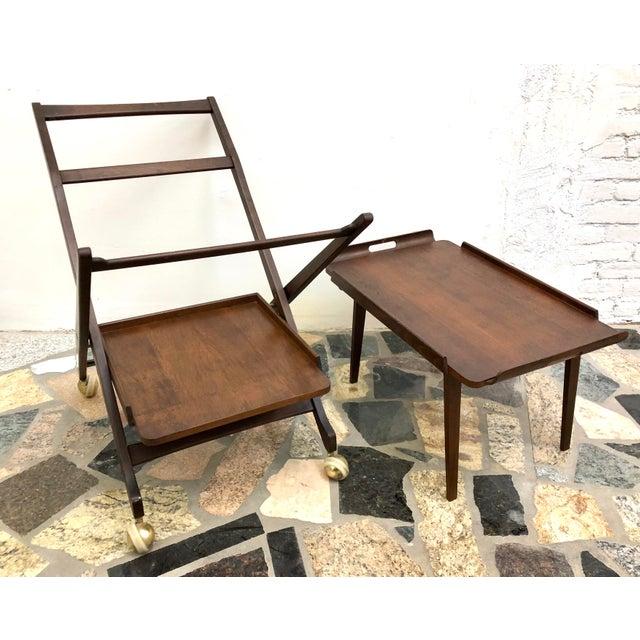 1960s Mid-Century Modern Danish Style Folding Rolling Bar / Tea Cart For Sale - Image 5 of 13