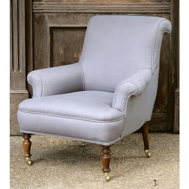 Linen Upholstery French Scroll-Back Armchair For Sale - Image 13 of 13