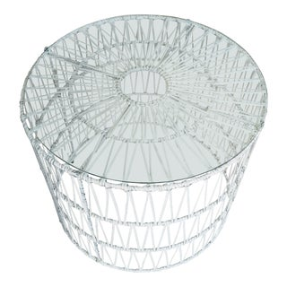 Serena and Lilly White Steel Rattan Drum Table For Sale