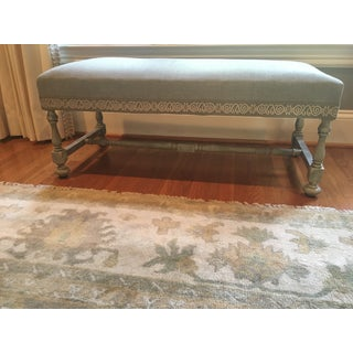 Antique William and Mary Style Gray Tweed Upholstered Walnut Bench For Sale