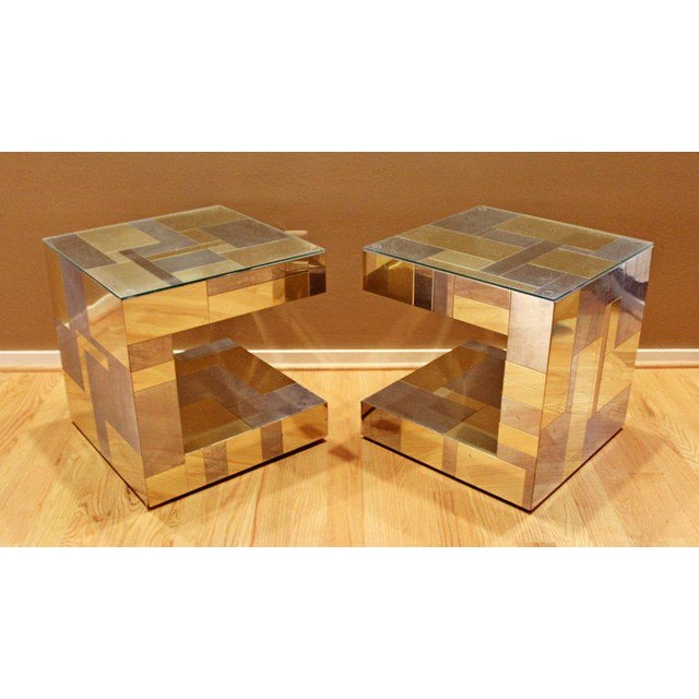 Brass Modern Pair of Paul Evans by Brass Chrome Cityscape Nightstands Side End Tables For Sale - Image 7 of 9