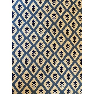 Schumacher Buti Cotton Fabric 4 Yards in Blue For Sale