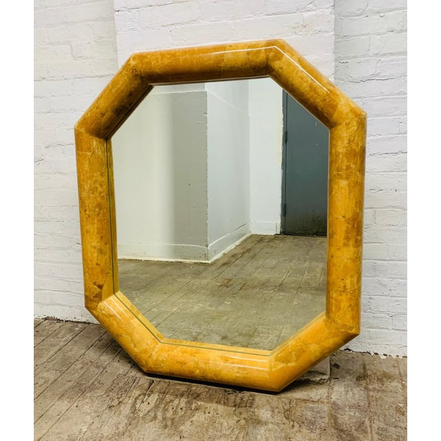 Mid-Century Modern Horn Inlay Octagonal Mirror by Enrique Garcel For Sale - Image 3 of 4
