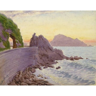 L. Bourlier, Vintage French Watercolor - Edge of the Riviera For Sale