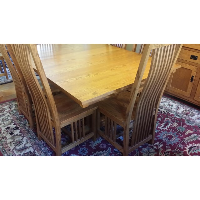 Arts & Crafts Solid Quatersawn Oak Mission-Style Dining Set - Set of 9 For Sale - Image 3 of 13