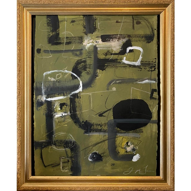 """""""Tennis Court"""" Contemporary Painting by Joe Turner in Antique Frame For Sale In Birmingham - Image 6 of 6"""