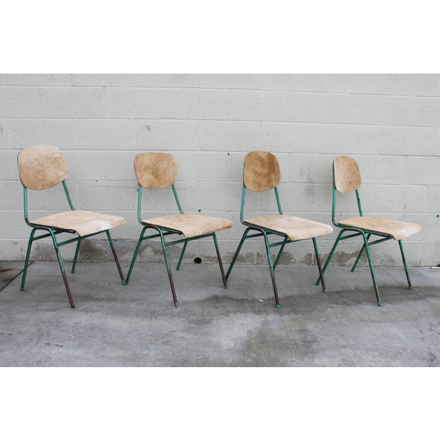 Turquoise Vintage French Stacking Steel, Bentwood and Leather Schoolhouse Dining Chairs - Set of 4 For Sale - Image 8 of 11