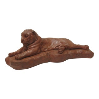 1980s Vintage Terra Cotta Mountain Lion Sculpture For Sale