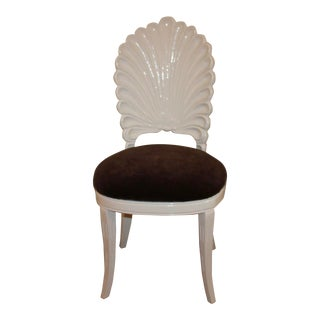 Vintage Shell Back Grotto Chair, Freshly and Professionally Lacquered For Sale