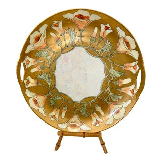 Kpm Gold Rimmed Floral Plate With Handles For Sale