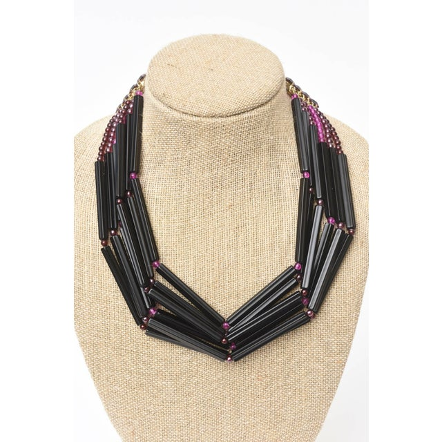 Black Yves Saint Laurent Rare Black and Purple Glass 6 Strand Necklace Vintage For Sale - Image 8 of 11