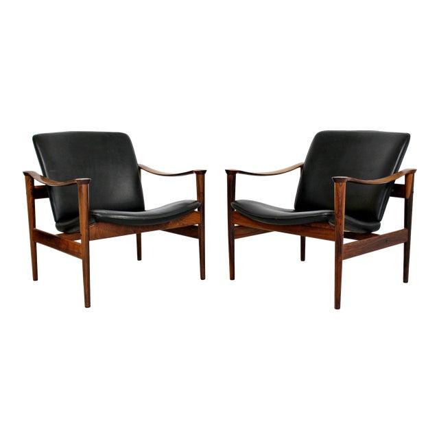 Mid Century Modern Pair Model 711 Easy Chairs Fredrik Kayser Vatne Mobler 1960s - Image 1 of 11