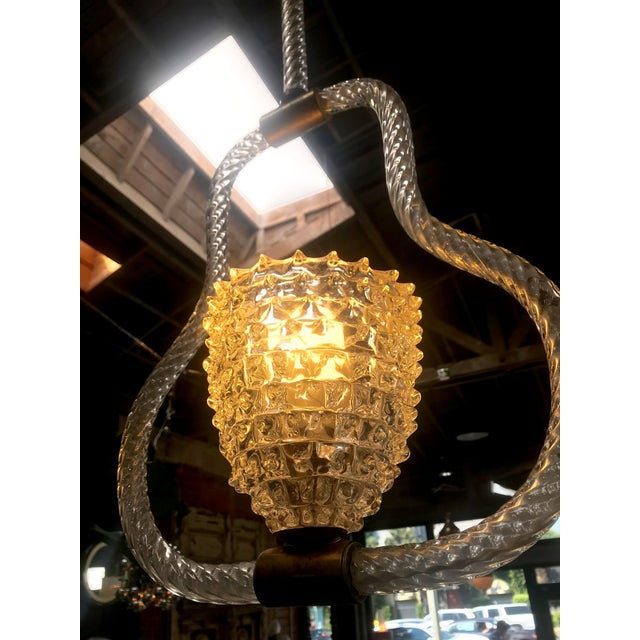 Brass Ercole Barovier & Toso Rostrato Chandelier, Italy, 1940s For Sale - Image 7 of 10