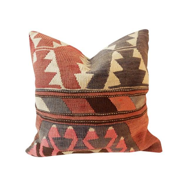 Old Caucasian Tribal Kilim Pillow - Image 1 of 9
