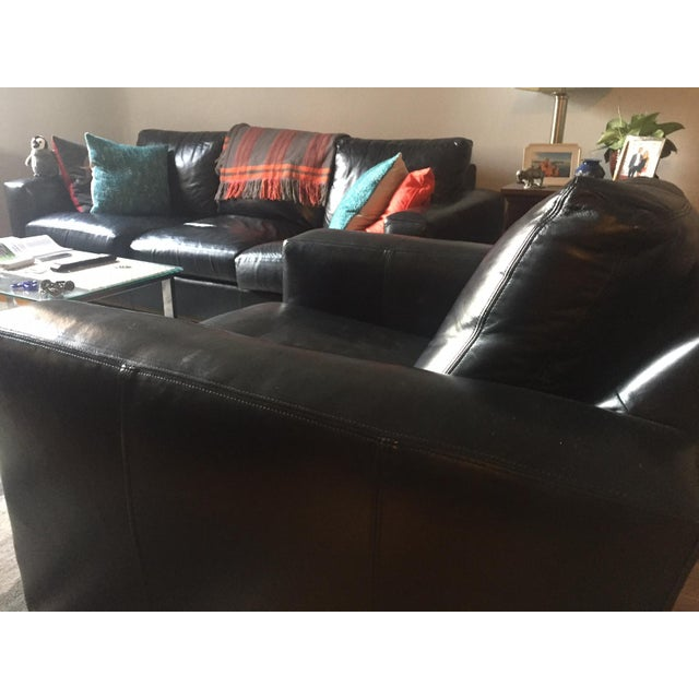 Room & Board Black Leather Chair For Sale - Image 5 of 5