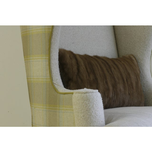 Vintage Plaid Reupholstered Wingback Chair - Image 3 of 4