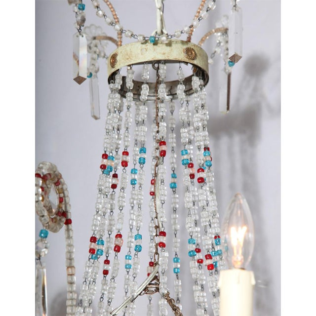 Glass Multi-Colored Glass Beaded Italian Chandelier For Sale - Image 7 of 11