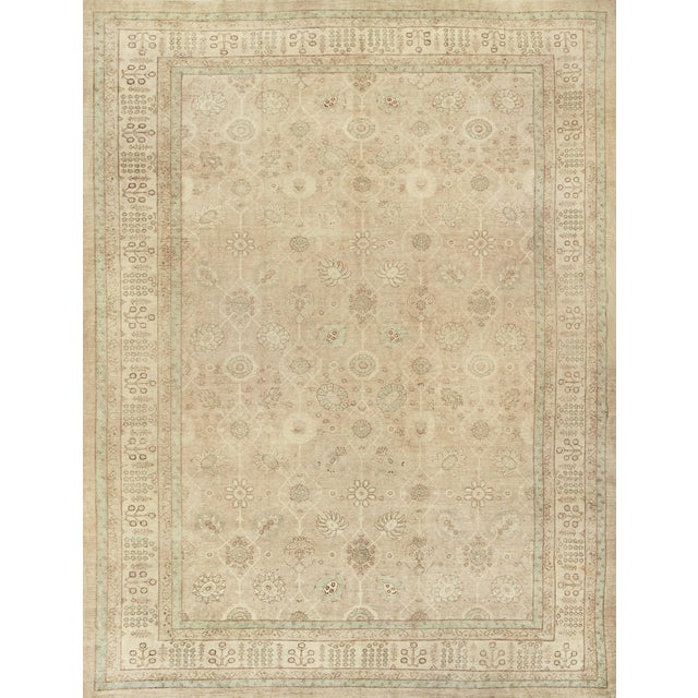 Handwoven Tabriz Style Wool Revival Rug For Sale