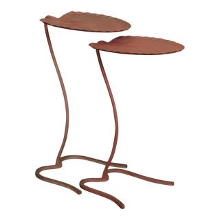 Salterini Wrought Iron Lily Pad Nesting Set 2 Tables (B) For Sale