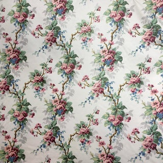 Vintage Scalamandre Chintz Floral Vine Fabric, Per Yard For Sale