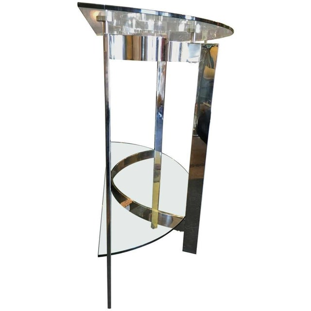 Modern Contemporary Modern Two-Tier Demilune Console For Sale - Image 3 of 6
