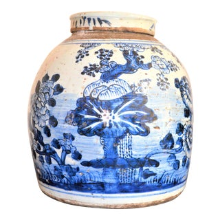 Chinoiserie White & Blue Floral Ginger Jar For Sale