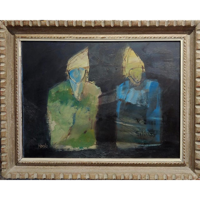 Robert Moesle -Two Abstract and Surreal figures -Oil painting oil panting on board -Signed frame size 30 x 23 board size...