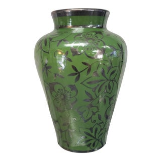 1920's Italian Art Deco Richard Ginori Green Earthenware Silver Overlay Floral Motif Vase For Sale