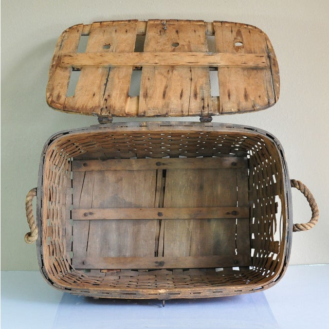 Large Rustic Antique Shipping Basket Trunk - Image 8 of 8