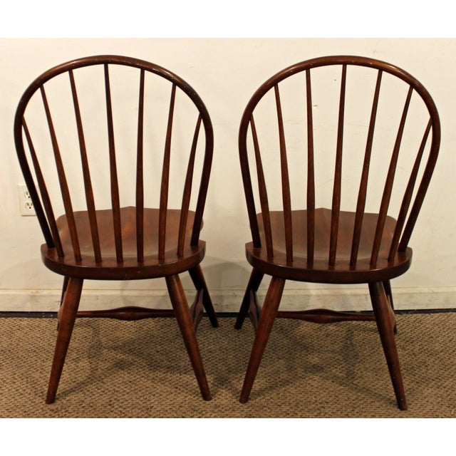 Mid 20th Century Duckloe Bros Cherry Hoop-Back Windsor Side Chairs - a Pair For Sale - Image 5 of 11