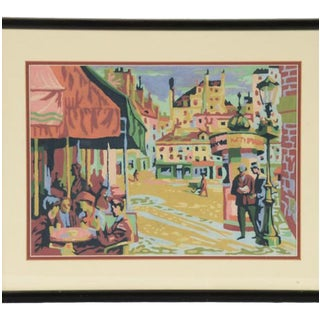 20th Century Acrylic Paper Painting of European Street Scene For Sale