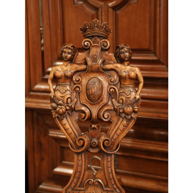 Pair of 19th Century Italian Renaissance Carved Walnut Sgabello Hall Chairs For Sale - Image 11 of 13