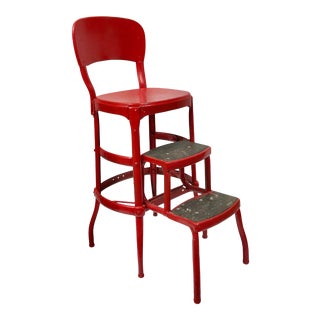Mid-Century Cosco Red Metal Kitchen Utility Stool For Sale
