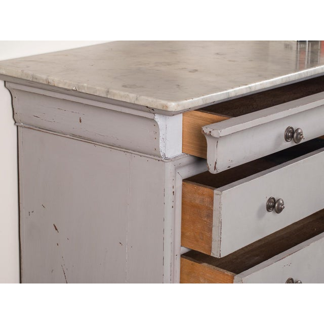 Antique French Painted Louis Philippe Chest of Drawers with a Marble Top circa 1850 For Sale In Houston - Image 6 of 11