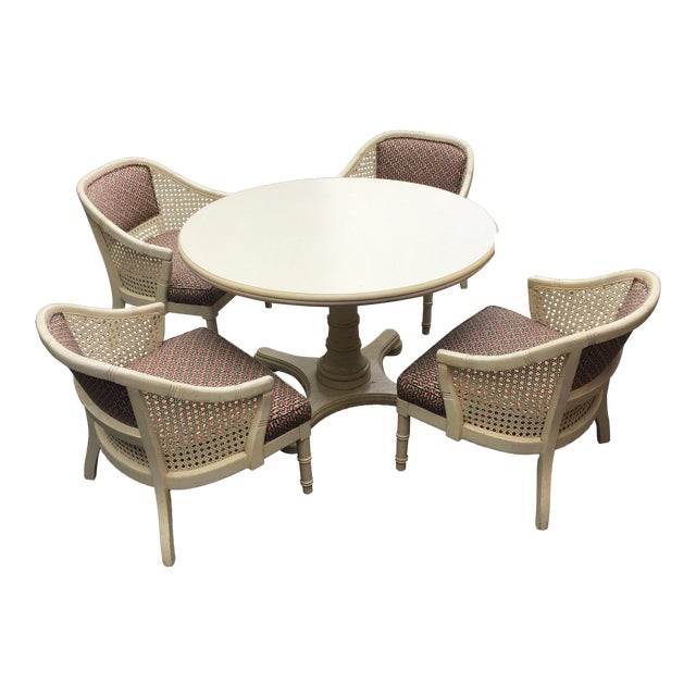 Vintage Cane Barrel Chair Dining Set - Set of 4 For Sale