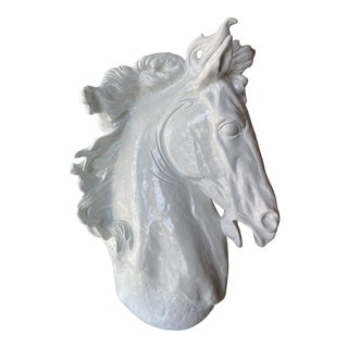 Vintage Plaster White Lacquered Modern Large Horse Head Statue For Sale