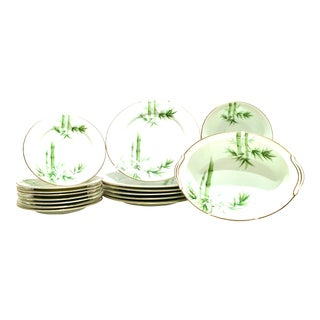 "Mid-20th Century Noritake ""Green Bamboo"" Porcelain Dinnerware - Set of 23 For Sale"