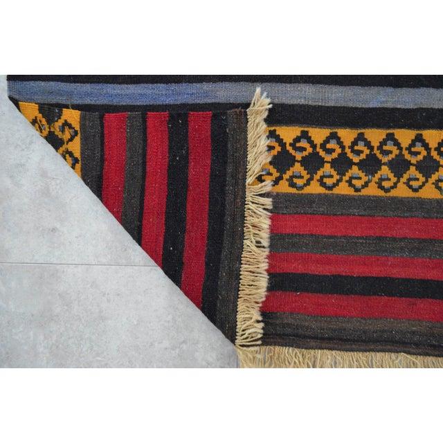 "Anatolian Wool Kilim Long Runner Rug - 2'7"" X 12'3"" - Image 8 of 9"