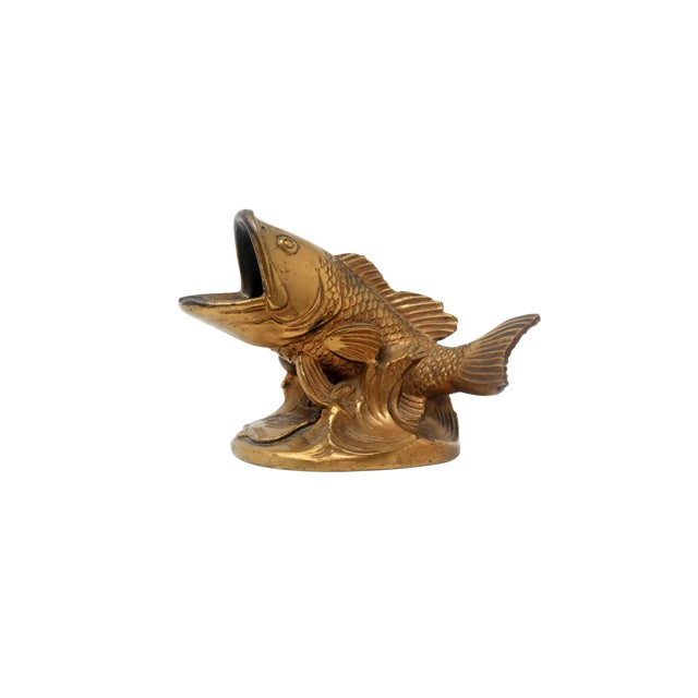 Vintage Brass Largemouth Bass Ashtray For Sale