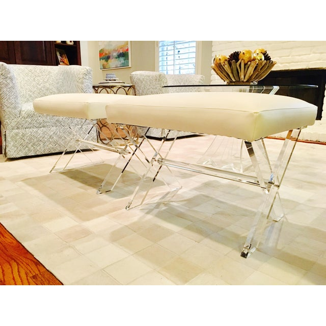 White Leather Lucite X Benches - A Pair - Image 6 of 6