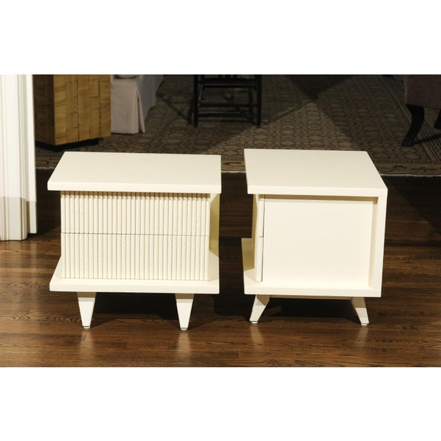 1930s 1938 Pair of Restored End Tables by Widdicomb in Cream Lacquer For Sale - Image 5 of 13