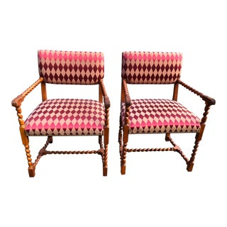 Baker English Jacobean Style Chairs - A Pair For Sale